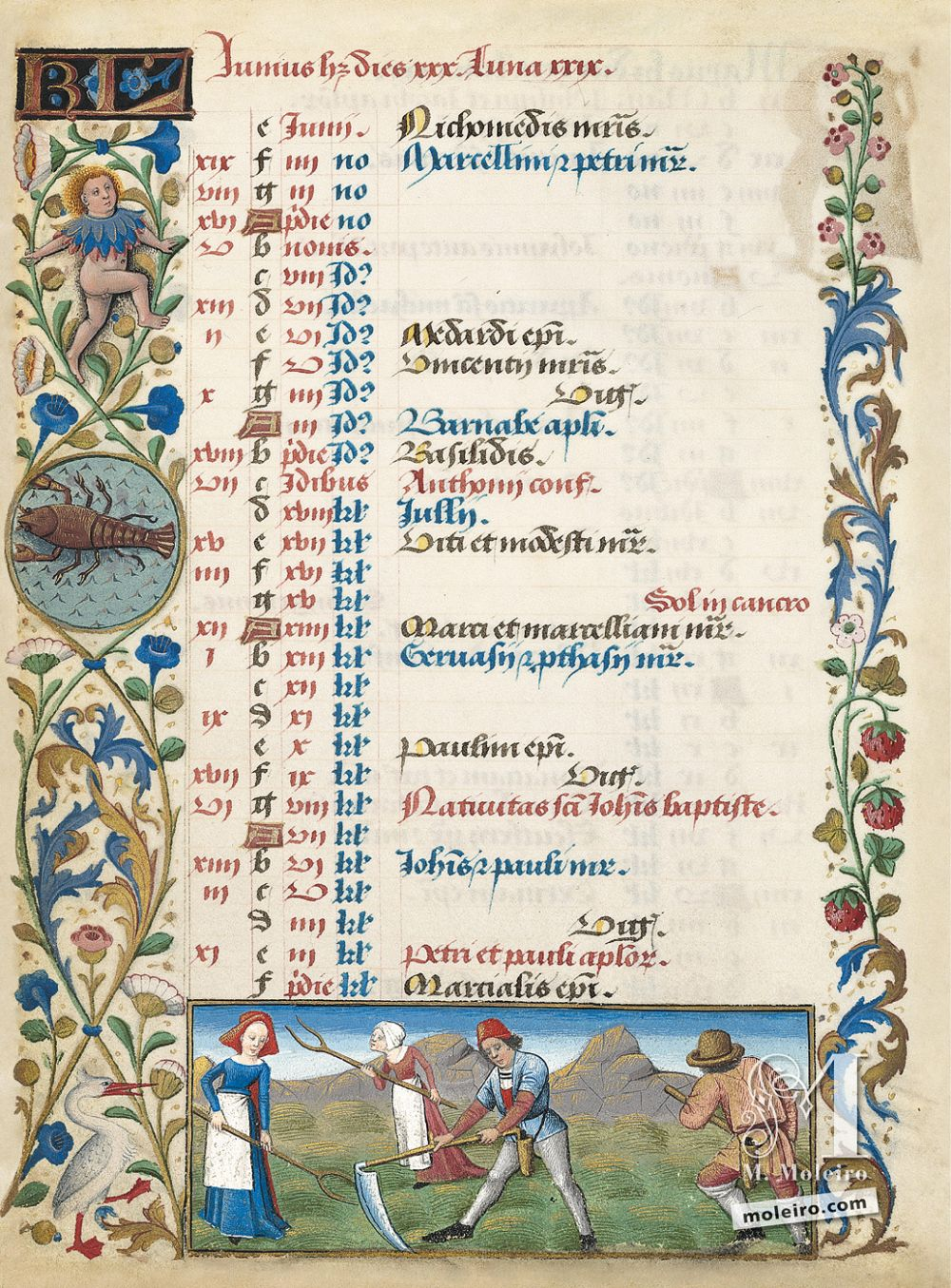 The Hours of Charles of Angoulême Calendar: June (f. 3v)