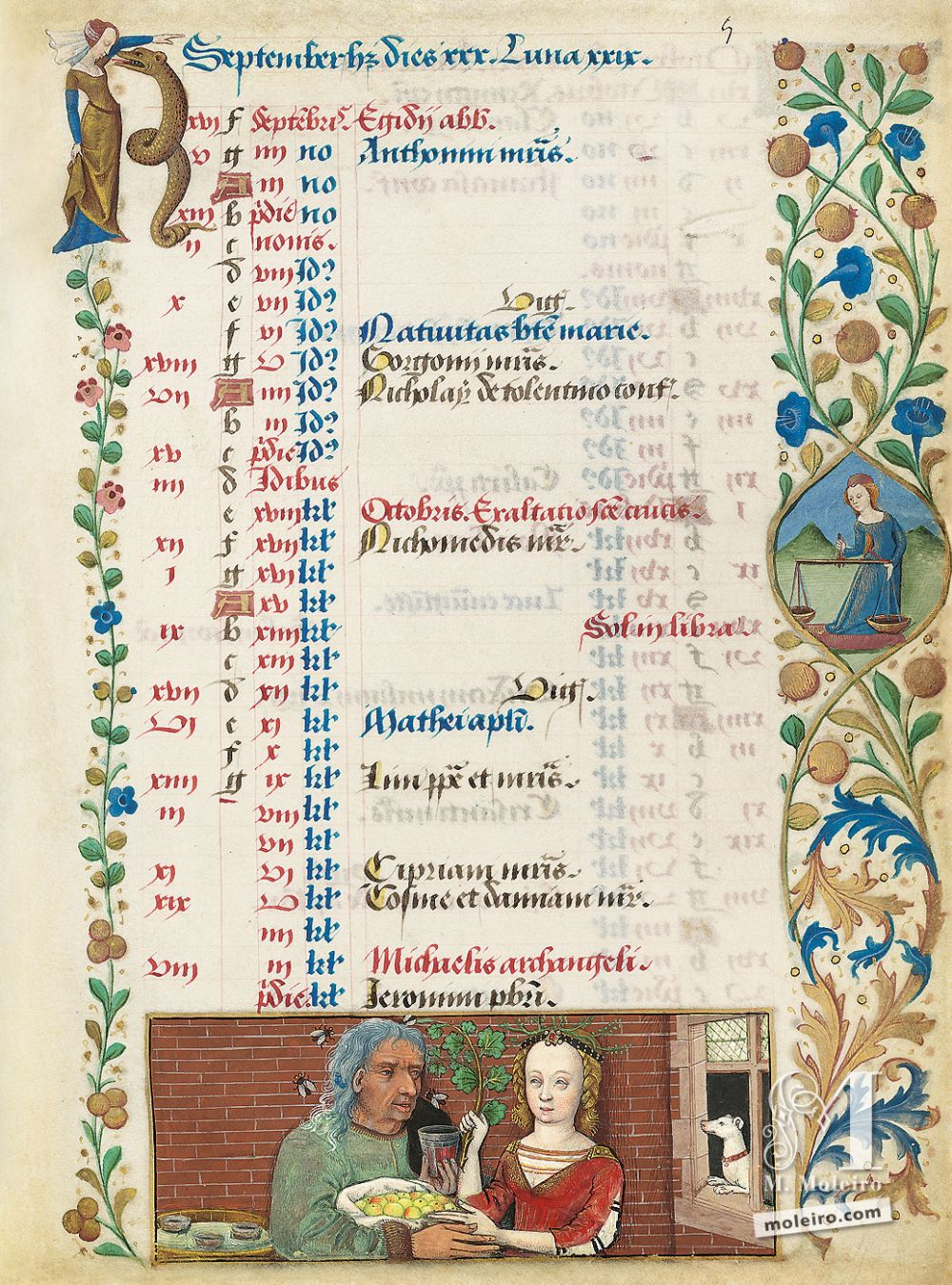 The Hours of Charles of Angoulême Calendar: September (f. 5r)