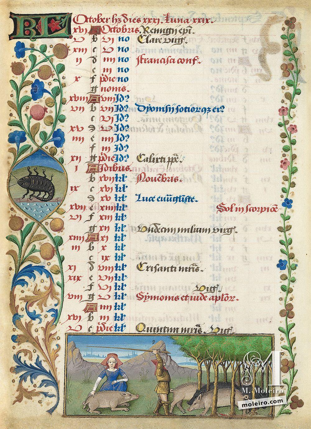 Les Heures de Charles d'Angoulême Calendrier octobre (f. 5v)