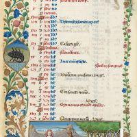 Calendario: octubre,Cerdos en montanera (f. 5v)