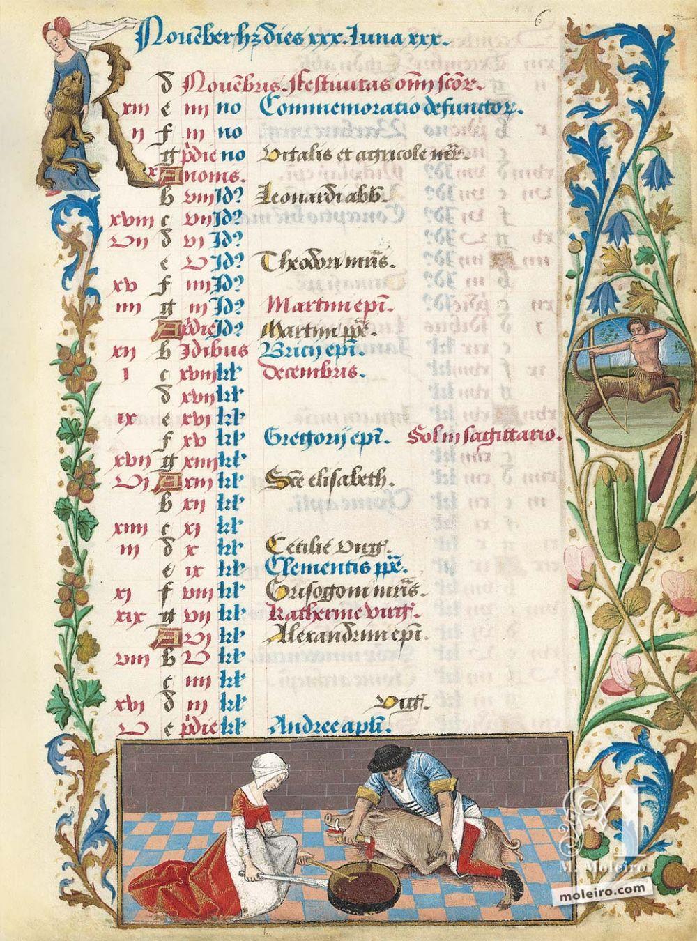Libro de horas de Carlos de Angulema Calendario: noviembre,Matanza del cerdo (f. 6r)