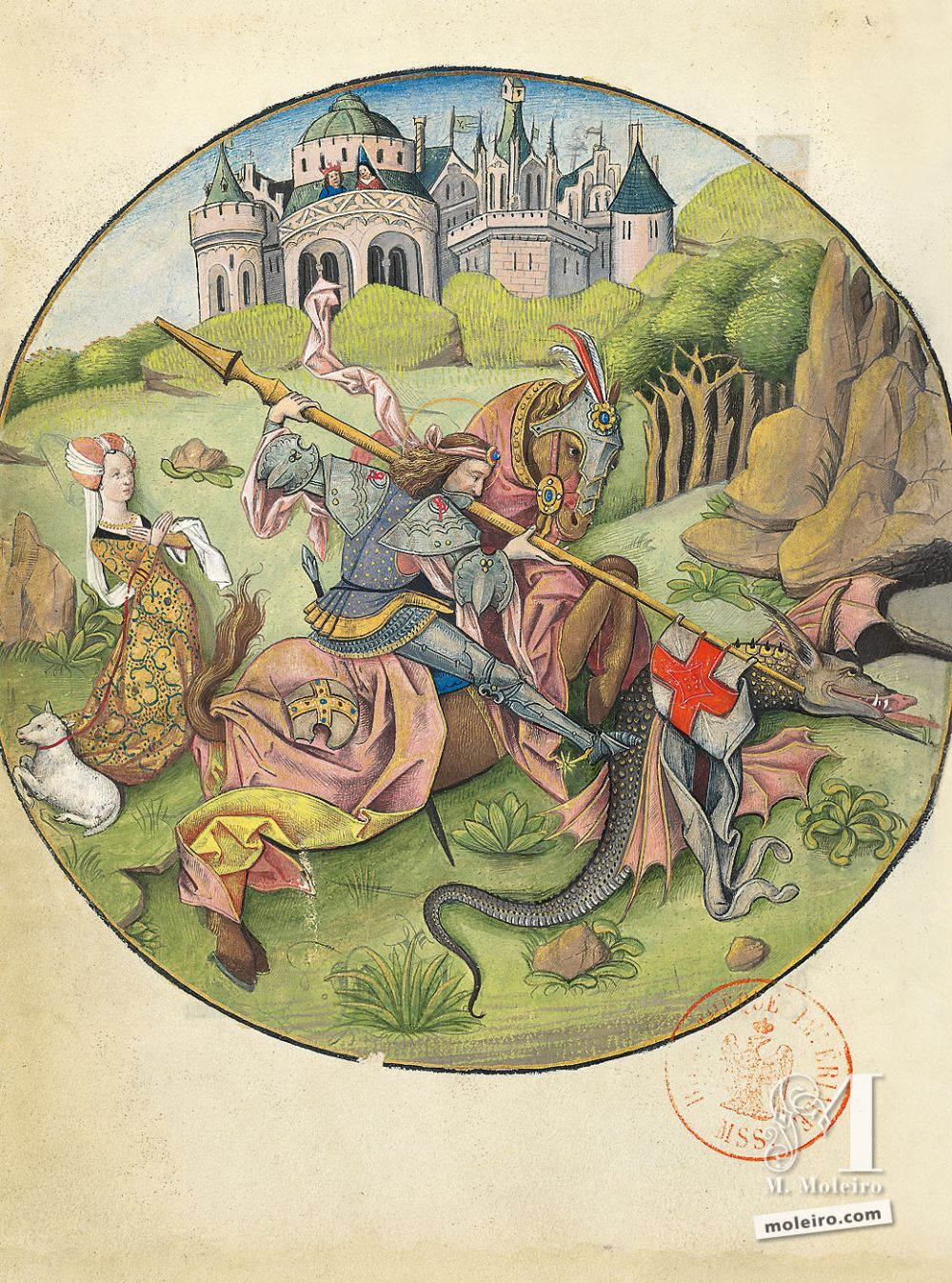 The Hours of Charles of Angoulême St George slaying the dragon (f. 53v)