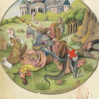 St George slaying the dragon (f. 53v)