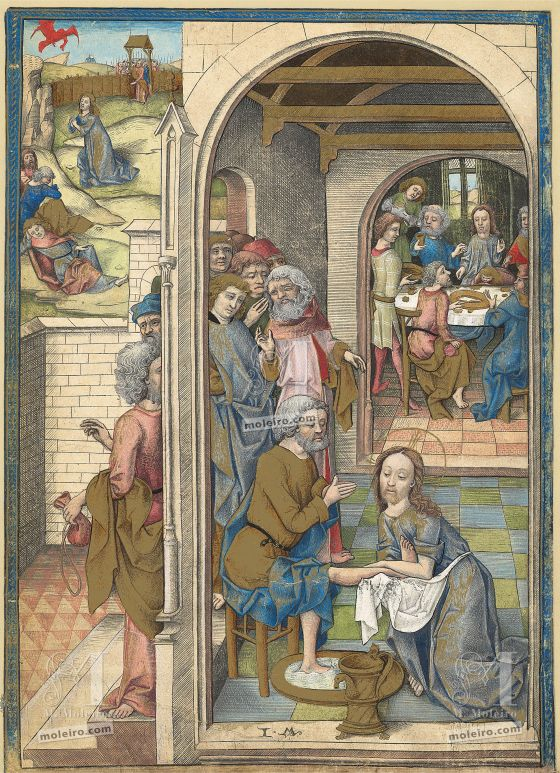 The Hours of Charles of Angoulême Last Supperand the Washing of Feet (f. 59v)