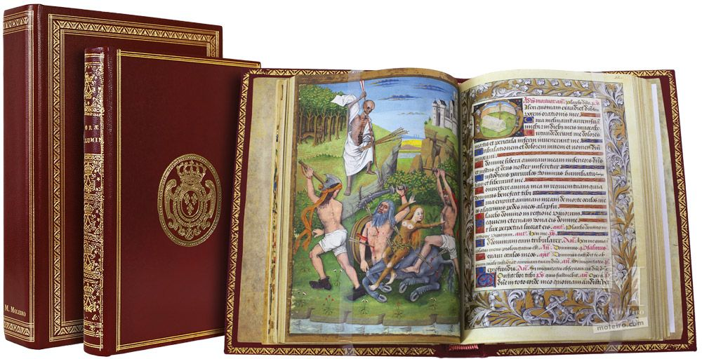 Stundenbuch von Karl von Angoulême Storage case, closed book and open book (f. 41v)