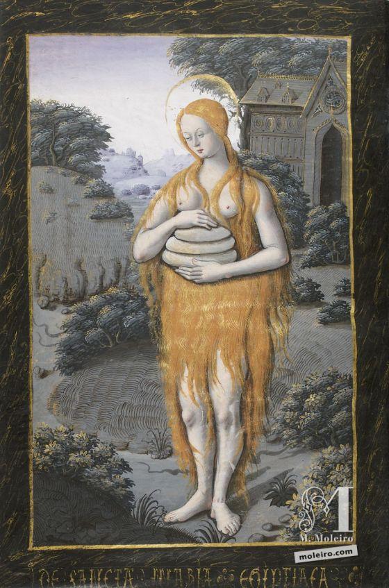Livro de Horas de Henrique IV de França Santa Maria do Egito levando três bolos e sem outra roupa que o seu cabelo longo e frondoso, f. 88v