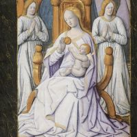 St Joseph led by angels to Our Lady with the child Jesus on her lap, f. 15r
