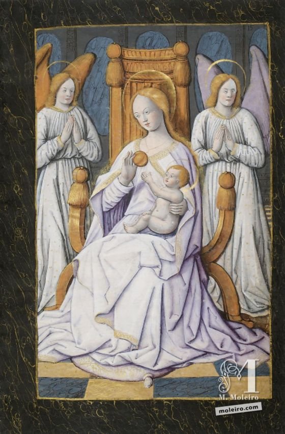 The Hours of Henry IV of France St Joseph led by angels to Our Lady with the child Jesus on her lap, f. 15r