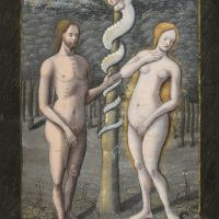 Adam and Eve tempted by the snake, f. 20v