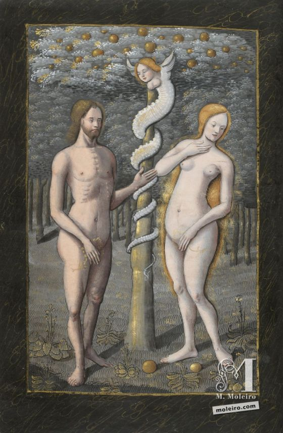 The Hours of Henry IV of France Adam and Eve tempted by the snake, f. 20v
