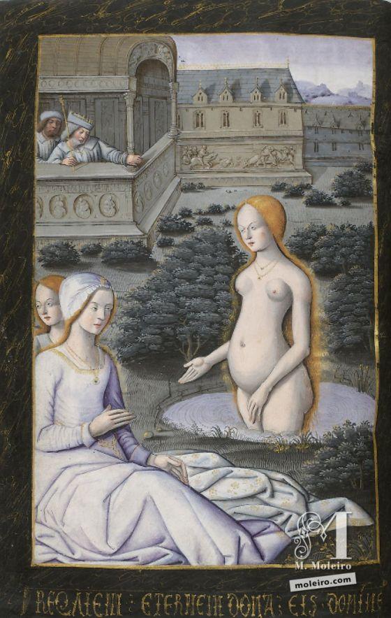 David y Betsabé, f. 49v en el Libro de horas de Enrique IV de Francia y III de Navarra (París, XV-XVI)