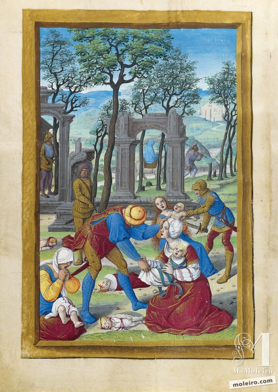 The Hours of Henry VIII Massacre of the Innocents and Flight into Egypt, f. 69v