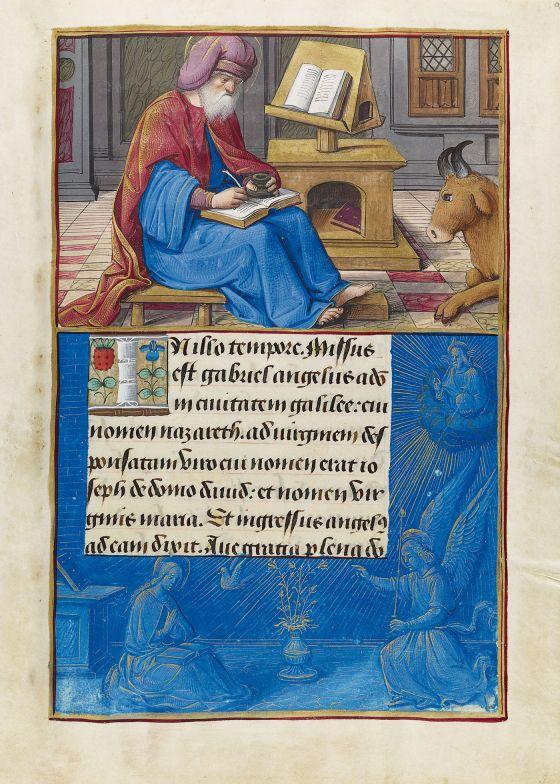 Libro d'Ore di Enrico VIII Luke Writing, f. 9r