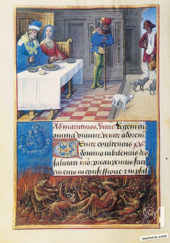 Libro de Horas de Enrique VIII El banquete de Epulón, f. 134v