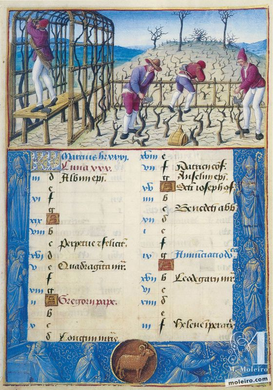 The Hours of Henry VIII March. Pruning, f. 2r