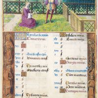 April. Picking Flowers and Making Wreaths, f. 2v