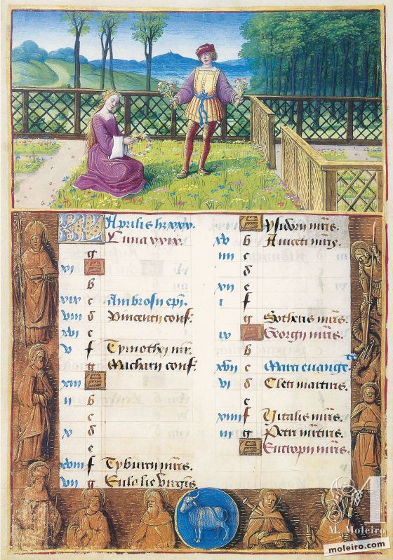 Libro d'Ore di Enrico VIII April. Picking Flowers and Making Wreaths, f. 2v
