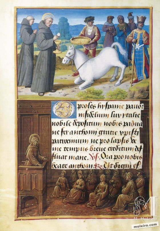 Stundenbuch von Heinrich VIII. Anthony and the Eucharistic Miracle, f. 185v