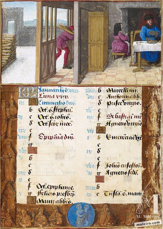 Livro de Horas de Henrique VIII January. Feasting and keeping warm, f. 1r