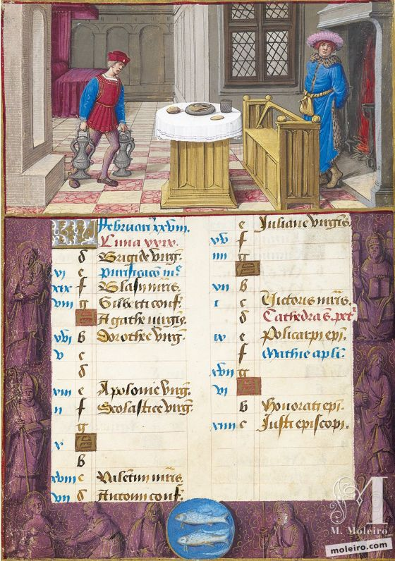 The Hours of Henry VIII February. Keeping warm, f. 1v