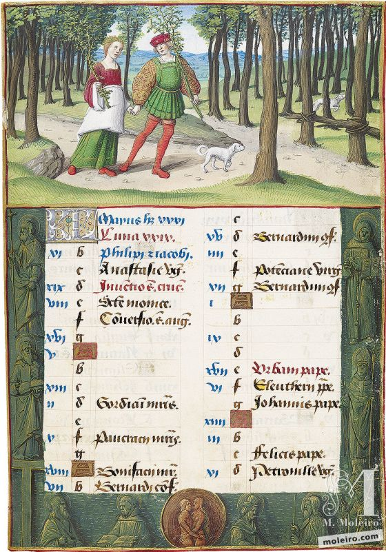 Livro de Horas de Henrique VIII May. Picking Branches, f. 3r