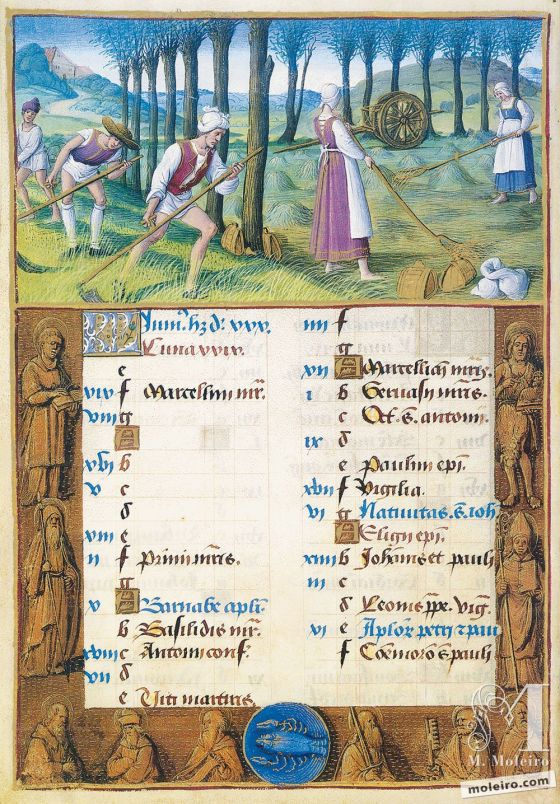 The Hours of Henry VIII June. Mowing, f. 3v