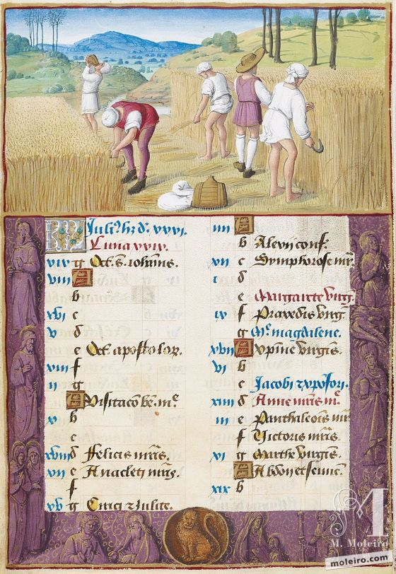 The Hours of Henry VIII July. Reaping, f. 4r
