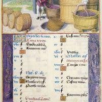 September: Treading Grapes, f. 5r