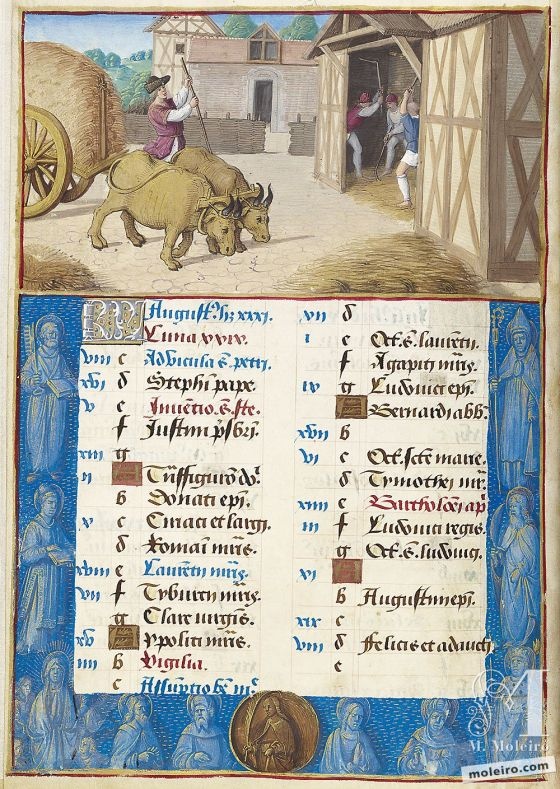 Stundenbuch von Heinrich VIII. August. Threshing, f. 4v