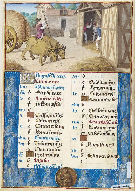 The Hours of Henry VIII August. Threshing, f. 4v