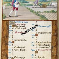 October. Sowing and Ploughing, f. 5v