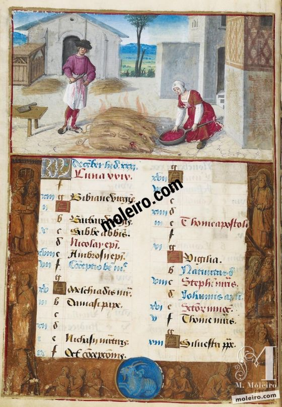 Livro de Horas de Henrique VIII December. Roasting Slaughtered Pigs, f. 6v
