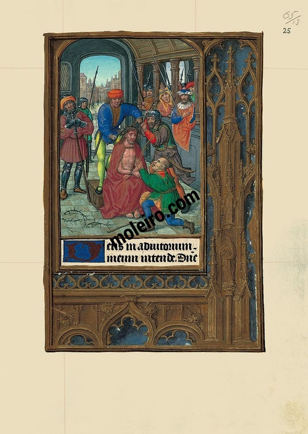 Pasta com 6 lâminas do Livro de Horas de Joana I de Castela (Joana a Louca) Ultrajes a Cristo, f. 23r