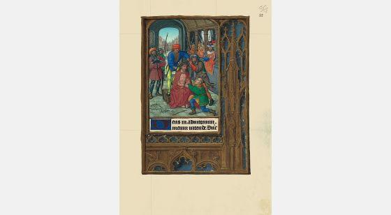 Carpeta con 6 láminas del Libro de Horas de Juana I de Castilla (Juana la Loca) <p>Coronación de espinas, f. 25r</p>