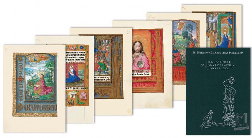 Pasta com 6 lâminas do Livro de Horas de Joana I de Castela (Joana a Louca) 6 lâminas quase-originais