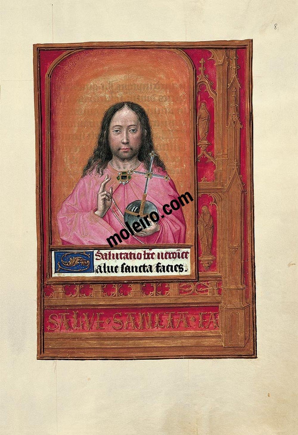 Mappe mit 6 Kunstdrucken aus dem Stundenbuch Johanna I. von Kastilien (Johanna die Wahnsinnige)  Pantokrator, f. 8r