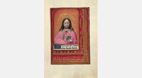 Carpeta con 6 láminas del Libro de Horas de Juana I de Castilla (Juana la Loca) Pantocrátor, f. 8r