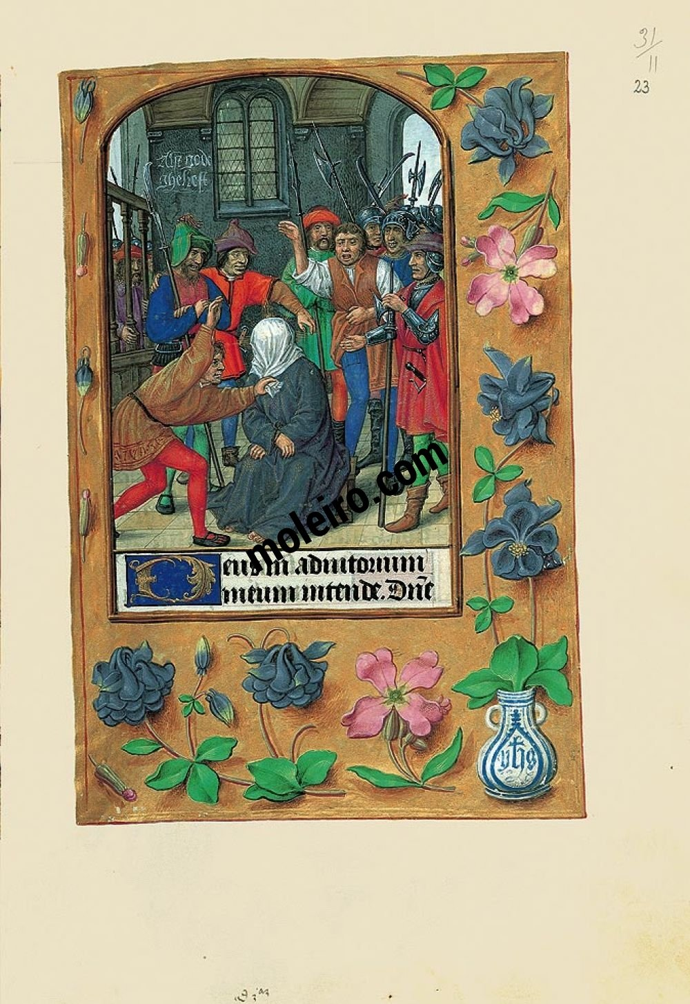 Folder of 6 prints from the Book of Hours of Joanna I of Castile (Joanna the Mad) F. 23r, The Scourging