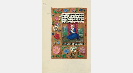 Carpeta con 6 láminas del Libro de Horas de Juana I de Castilla (Juana la Loca) La Virgen de la leche, f. 54v