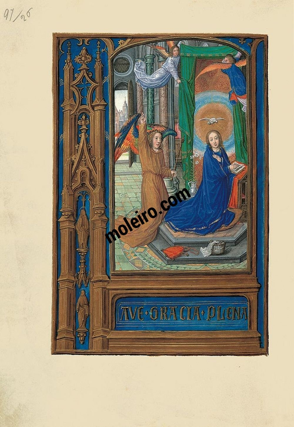 Folder of 6 prints from the Book of Hours of Joanna I of Castile (Joanna the Mad) F. 56v,  the Annunciation