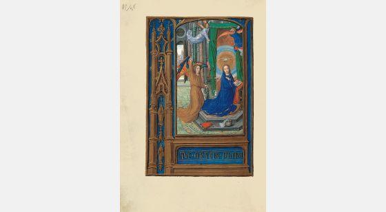 Carpeta con 6 láminas del Libro de Horas de Juana I de Castilla (Juana la Loca) La Anunciación, f. 56v