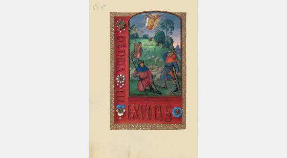 Carpeta con 6 láminas del Libro de Horas de Juana I de Castilla (Juana la Loca) El anuncio a los pastores, f. 95v