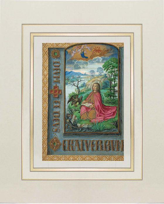 Lámina de San Juan en Patmos del Libro de Horas de Juana I de Castilla (Juana la Loca) f. 10v San Juan en Patmos