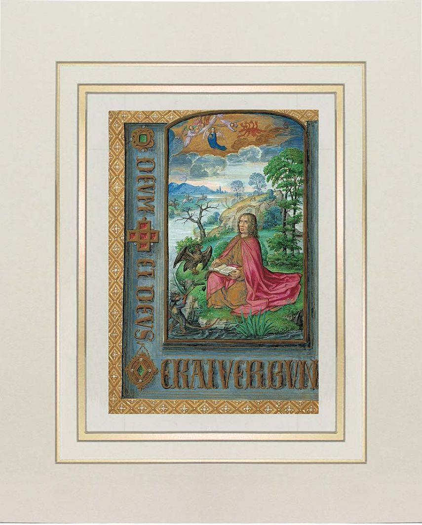 Lamina di San Giovanni a Patmo del Libro delle Ore di Giovanna di Castiglia (Giovanna la Pazza). 1 lamina quasi originale