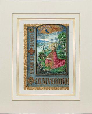 Kunstdruck des Evangelisten Johannes auf Pathmos aus dem Stundenbuch Johanna I. von Kastilien (Johanna die Wahnsinnige) 1 originalgetreue Nachbildung