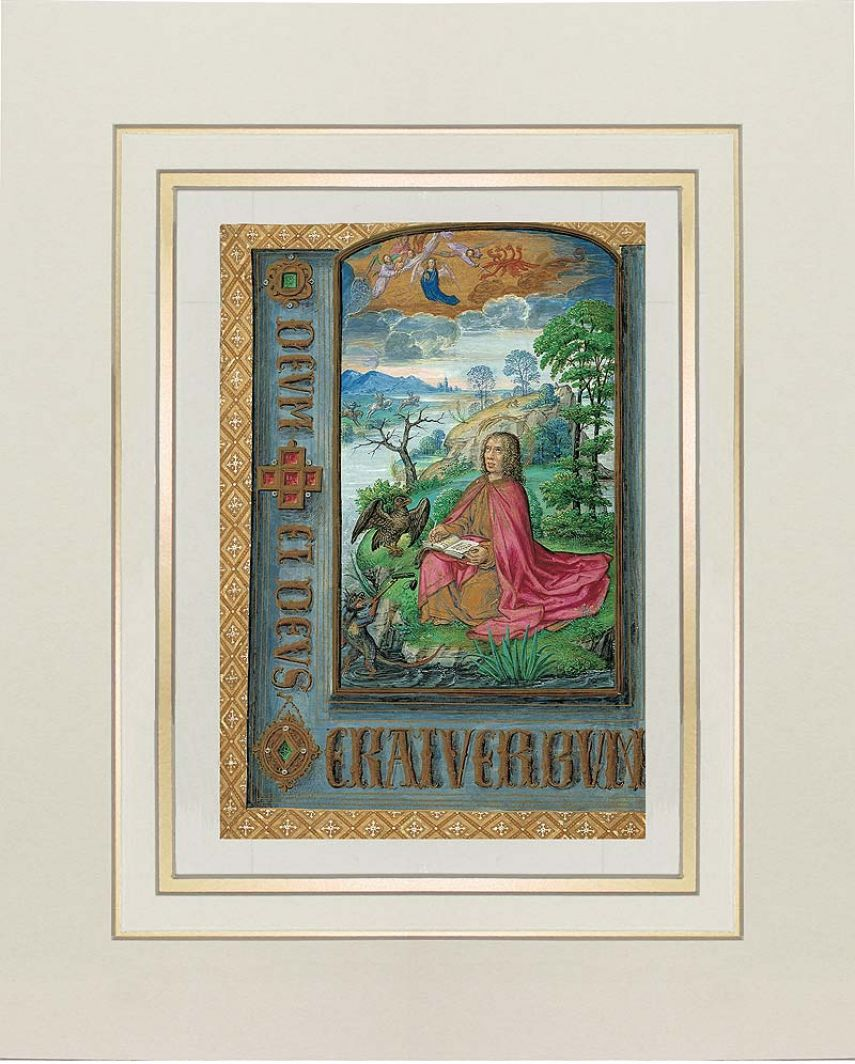 Lámina de San Juan en Patmos del Libro de Horas de Juana I de Castilla (Juana la Loca) 1 lámina casi-original