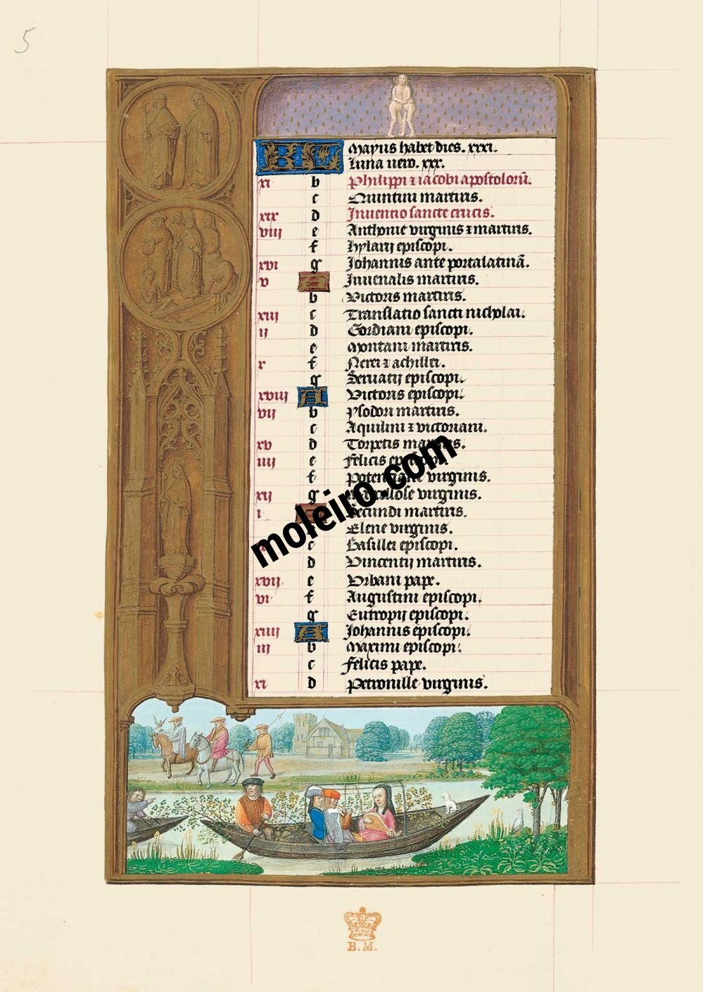 The Hours of Joanna I of Castile, Joanna the Mad (The London Rothschild Prayerbook) f.3v,  Calendar, May