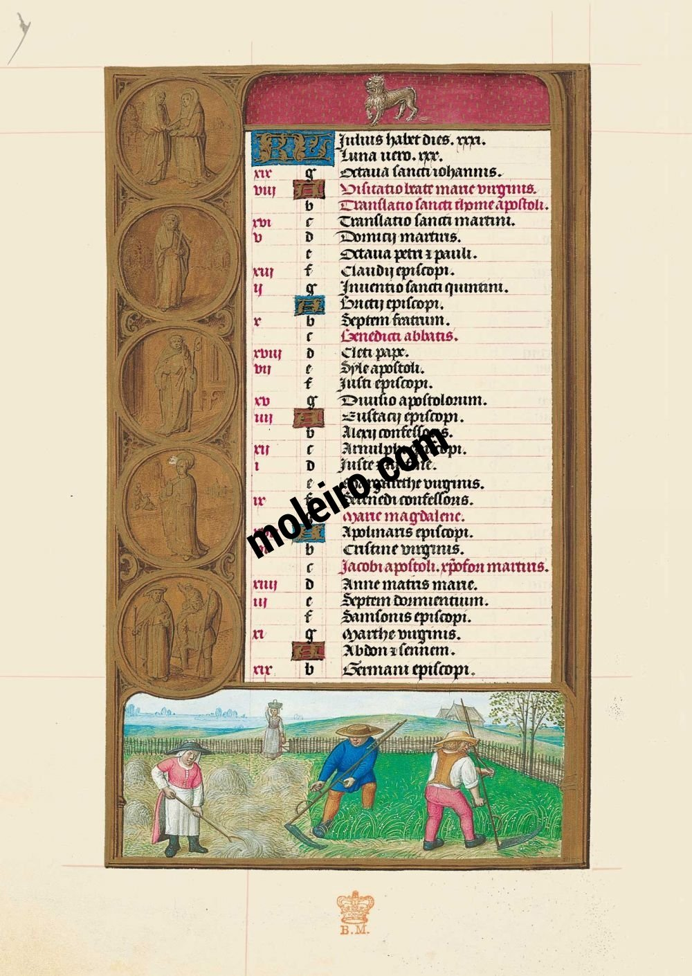 The Hours of Joanna I of Castile, Joanna the Mad (The London Rothschild Prayerbook) f. 4v, Calendar, July