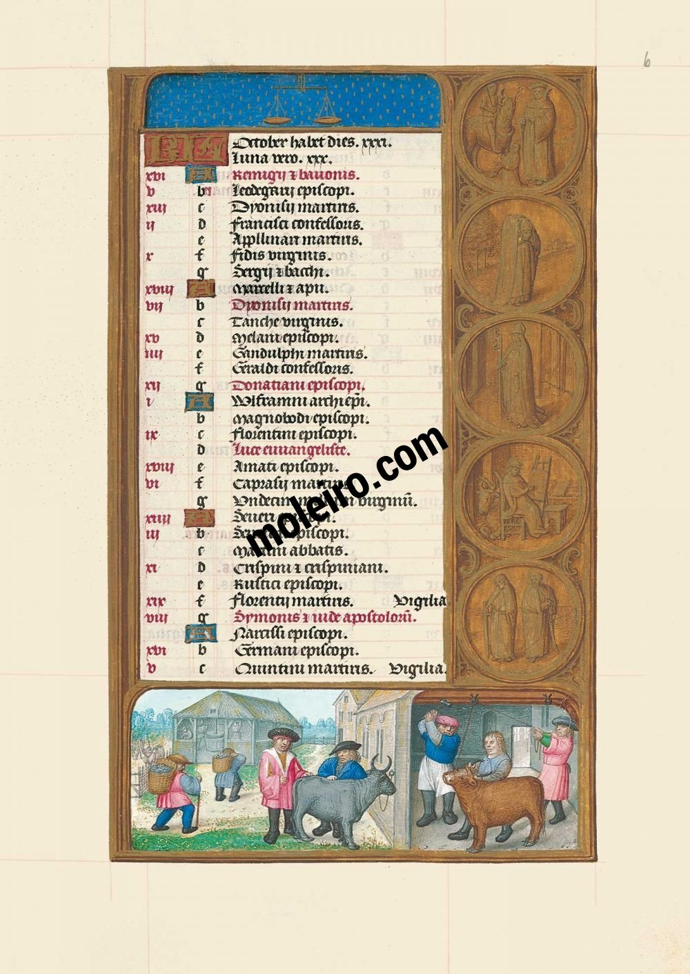 The Hours of Joanna I of Castile, Joanna the Mad (The London Rothschild Prayerbook) f. 6r, Calendar, October