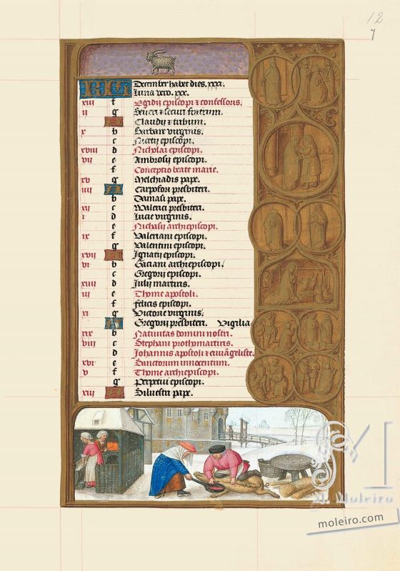 Les Heures de Jeanne Ire de Castille, Jeanne la Folle f. 7r, Calendrier, décembre